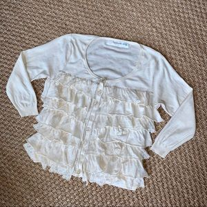 Anthropologie Sparrow Tiered Ruffle Front Cardigan
